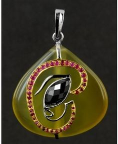 Marquis Shaped Black Diamond Ganesha Eye Pendant