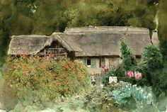 Northeast farmyard // Chinese Watercolor Artist Guan Weixing