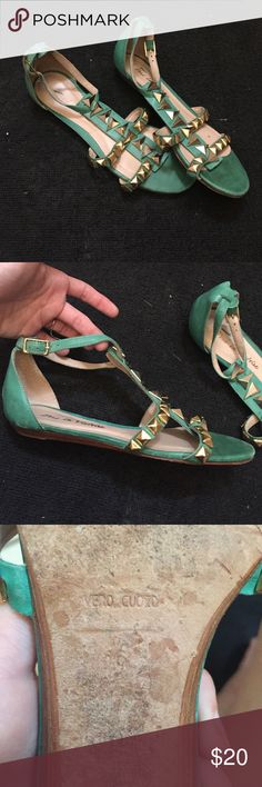Vero Cuoio Pour La Victorie Teal Sandals Gold and real sandals. Quality Vero Cuoio soles. Size 6. Made in Brazil. ❤️👸🏻 Pour la Victoire Shoes Sandals