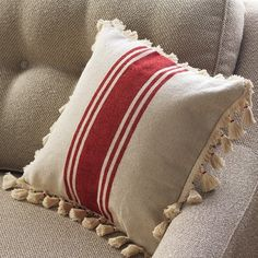 Striped Cotton Throw Pillow With Tassels