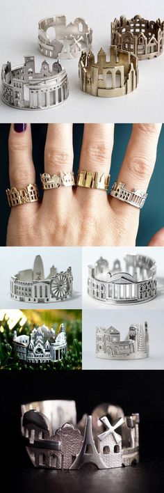Cityscape Rings Feature Architectural Highlights of Iconic Cities Bucket List Rings ~ rubies.work/… Cityscape Rings Feature Architectural Highlights of Iconic Cities Pandora Bracelets, Pandora Jewelry, Jewelry Rings, Unique Jewelry, Jewelry Accessories, Jewelry Design, Inexpensive Jewelry, Jewellery Box, Jewellery Shops