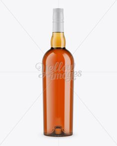 Clear Glass Whiskey Bottle Mockup - Front View