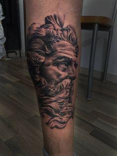 Greek god tattoo by Christian at Holy Grail Tattoo Studio