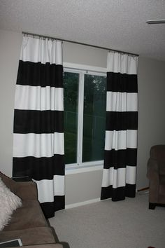Painted black and white striped curtains tutorial
