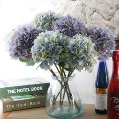 1 개 고급 인공 수국 꽃 낚싯대 DIY 실크 액세서리 파티 홈 웨딩 장식 5 색