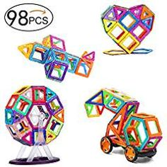 Magnetic Blocks 98 Pcs, Magnetic Tiles Educational Toys, Magnetic Building Blocks Set for Boys and Girls. * You can find more details by visiting the image link. (This is an affiliate link)