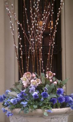 Spring Flower Container - Pussywillows, pink hellebores and purple pansies