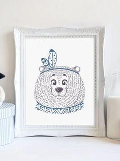 Tribal Bear Print Nursery Print Animal Art by LoveJoyPrintShop Nursery Prints, Nursery Wall Art, Nursery Decor, Wall Art Prints, Tribal Bear, Bear Nursery, Bear Print, Printable Art, Tapestry