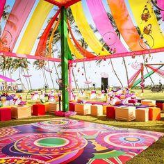 How vibrant is this kitschy beachside mehendi decor by Horizon_wie! Holi Party, Wedding Planner, Destination Wedding, Wedding Events, Wedding Day, Mehndi Decor, Wedding Function, Wedding Sutra, Maybe One Day