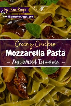 Creamy Chicken Mozzarella Pasta with Sun-Dried Tomatoes. is an extremely popular dish among Italian immigrants who came to the United States. #ChickenMozzarellaPasta #SundriedTomatoPasta #CreamyChickenPasta #GrilledChickenPasta #CreamyTomatoPasta #PastaCheese #CreamyMushroomPasta #GarlicPasta #CheesyChicken Best Easy Dinner Recipes, Cooking Recipes For Dinner, Easy Delicious Recipes, Top Recipes, Amazing Recipes, Easy Recipes, Whole Food Recipes, Chicken Pasta Dishes, Chicken Parmesan Recipes