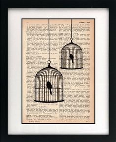 Items similar to birdcage print - birdcage art print - vintage dictionary print - recycled book page - upcycled book page - art print on Etsy - Vintage Art Old Book Crafts, Book Page Crafts, Book Page Art, Book Pages, Book Art, Journal D'art, Art Journals, Cuadros Diy, Art Vintage