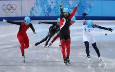 Sochi Olympics: Charles Hamelin after winning Gold In 1500 M short.track speedskating.