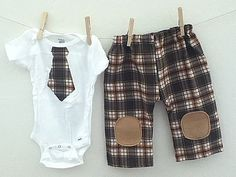 Tie onesie and plaid pants birthday outfit by babynightnight, $25.00