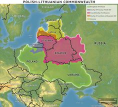 The Polish-Lithu anian Commonwealth. Kaliningrad Russia, Poland Map, Alternate History, Historical Maps, Eastern Europe, Geology, Rugs On Carpet, Polish, Fortification