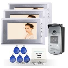 """193.58$  Watch now - http://ali2sy.worldwells.pw/go.php?t=32218690452 - """"FREE SHIPPING New 7"""""""" TFT Video Intercom Entry Door Phone System + 3 Monitors + RFID Card Reader HD Doorbell Camera Wholesale"""""""