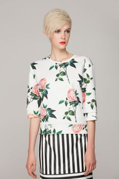 I love these stripes and floral together! Women's fall fashion clothing outfit for shopping movies lunch with friends