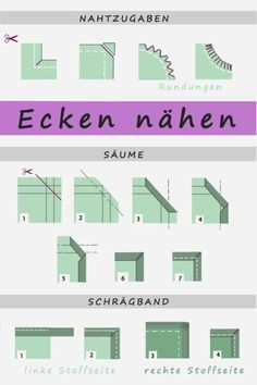 Ecken nähen – So geht's Sewing Corners – That's How It Works (Diy Crafts Clothes) Sewing Projects For Beginners, Cool Diy Projects, Sewing Tutorials, Sewing Hacks, Sewing Crafts, Sewing Tips, Tutorial Sewing, Diy Fashion Projects, Crochet Tutorials