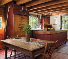 Primitive kitchen/dining.....love the island.