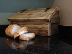 Chunky Rustic Farmhouse Wooden Bread Bin Box With Antique Hinges