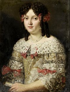 Circle of Pier Francesco Cittadini (1616-1681) —  Portrait of a Lady in a Silver Dress Decorated with Red Ribbons