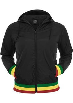 ADIDAS WINDBREAKER JACKET ZIP UP RASTA COLORED SLEEVE STRIPES