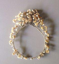 Pretty antique French wax orange flower & buds wedding tiara crown