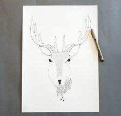 Deer ink drawing. Deer with flowers illustration. by DecorAsylum