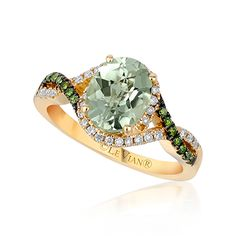 Le Vian® Mint Amethyst™ boldly accented with Kiwiberry Green Diamonds™ and Vanilla Diamonds® in scrumptious 14K Honey Gold