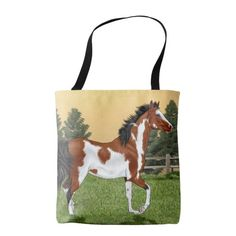 Bay and White Pinto Arabian Horse Tote Bag