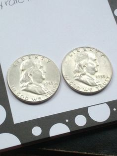 2 1955 key date Silver Franklin Half Dollars by DrewsCollectibles, $33.99