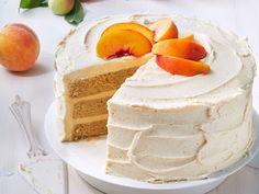 Brown Sugar Layer Cake with Peach Buttercream - On Poinsettia Drive Layer Cake Recipes, Dessert Recipes, Desserts, Layer Cakes, Dessert Ideas, Brown Sugar Cakes, Peach Butter, Fruit Cobbler, Peach Cake