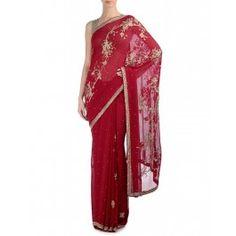 Cardinal Red Sari with Rhinestone Embellishments