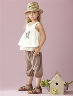 Girls' Top & wide-leg shorts outfit CREAM/LIGHT BROWN   @Taylor Joelle Designs  #taylorjoellekidsdreamcloset