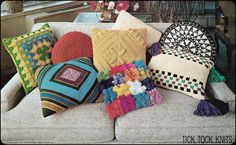 Crochet Pillows | ... collection of 8 different throw pillows - 3 crocheted, 4 knit, 1 sewn