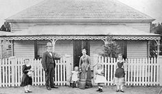 Negative - Family in Front of a House, Clunes, Victoria, circa 1890 - Museum… Australian Architecture, Australian Homes, Melbourne Victoria, Victoria Australia, Maldon Victoria, Vintage Photographs, Vintage Photos, Victorian Cottage, Timber House