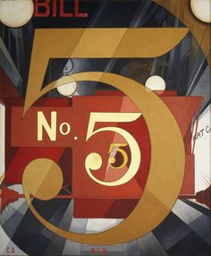 No. 5 in Gold by Charles Demuth-Based on a William Carlos Williams poem that describes a fire engine running through city streets. Charles Sheeler, Charles Demuth, Alfred Stieglitz, Pop Art, Arte Pop, Typographie Fonts, Modern Art, Contemporary Art, Gold Wall Art