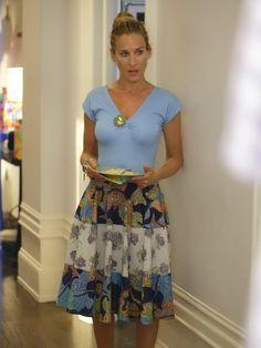 "Carrie Bradshaw season 6, episode 86 ""One"": blue dress with patchwork skirt; purple mesh handbag; Coral Gun Metal (??) heels."