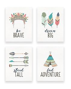 Amazon.com: Tribal Nursery Decor: Set of 4 Unframed Teepee, Headdress, Feather, Arrow Wall Fine Art Paper Prints: Handmade