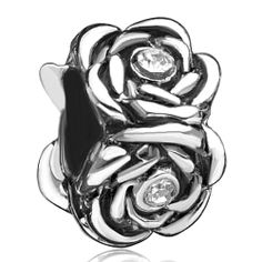 Rose Flower Fit All Brands Silver Plated Beads Charms Bracelets Pugster.com