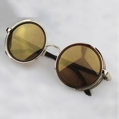 922c3e2568d Steampunk Glasses - Gold   Brown With Side Shades