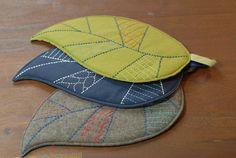 Leaf Trivet  Sashiko Embroidered by AtelierWeasel on Etsy