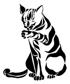 tribal cat by picajosan Line Drawing Images, Tribal Animals, Cut Animals, Cat Silhouette, Tattoo Stencils, Tribal Art, Animal Drawings, Cat Art, Cats And Kittens