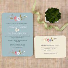 cheap dusty blue floral bohemian ticket shape wedding invitation kits EWIr380: $145 for 110 incld env. and RSVP