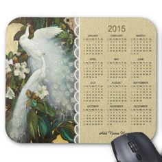 White Peacocks Rustic Lace Calendar Mousepad 2015