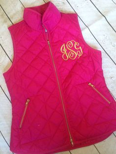 Quilted monogrammed vest.  by skkilby21 on Etsy, $55.00. Just bought 2 vests to get monogrammed!:)