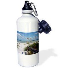 3dRose Sanibel Beach Awaits, Sports Water Bottle, 21oz