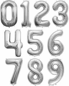 """34"""" Silver Number Balloons Happy Birthday Anniversary Years Party Graduate"""