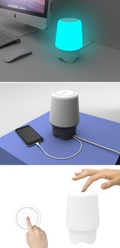 However minimal, this home lighting concept packs major multifunctionality into its compact form. Its many features include an 80DB speaker driver with passive bass, built-in microphone for mobile calls, 2 hidden USB ports for charging devices, wireless smartphone syncing, a haptic button that allows you to take/ignore calls or disengaging the phone's alarm clock, and finally… a color-adjustable light customizable to thousands of different hues! Yessss! But will it blend?!