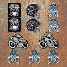 Biker Large Laminated Sticker set Motorbike Motorcycle Cafe Racer Bobber Rocker