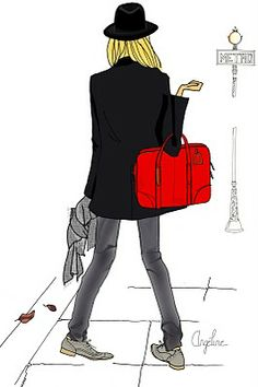 Love the illustration, also the style, skinny, oxfords, blazer, bowler and a red bag... adore it!